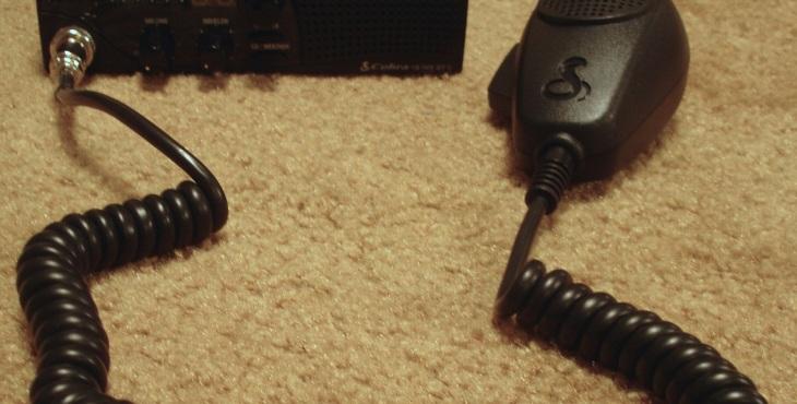 Cobra 18 WX ST II mobile CB radio with microphone.